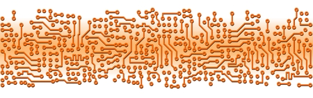 Abstract orange industrial circuit board electronic template Vector