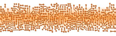 Résumé orange industriel circuit électronique modèle