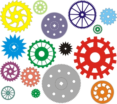 pinion: Set of vector multi-coloured gears different in the form