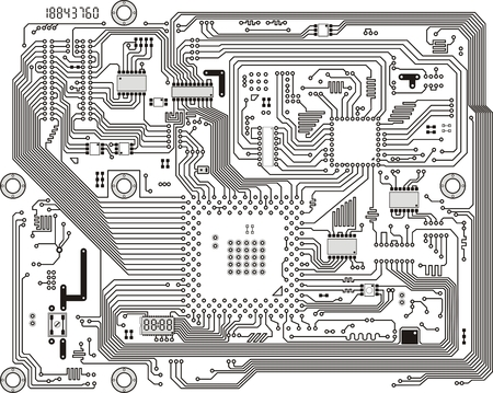 motherboard: Electronic industrial modern circuit board vector background Illustration