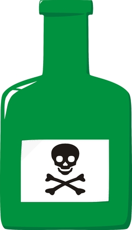 venom: Green small bottle with poison and label a skull and crossbones Illustration
