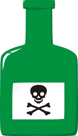 poison bottle: Verde bottiglia piccola etichetta con veleno e un teschio e Crossbones Vettoriali