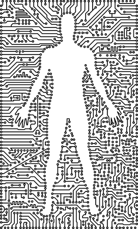 Silhouette of the man in an electronic computer tech background Vector