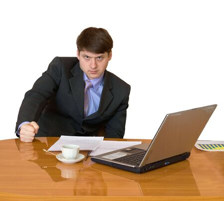 deliberation: Girls sitting at a desktop and their chief Stock Photo