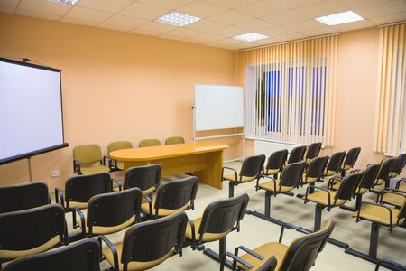 deliberation: Modern interior of a small conference hall in pink tones