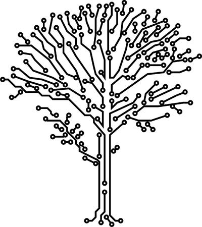 electronic elements: Crone tree Vector fatta di percorsi di elettronica di colore nero