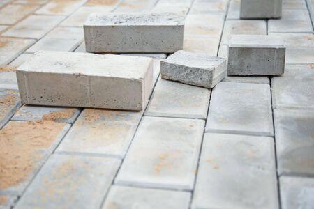 construction platform: Under construction platform for a bungalow from a grey brick