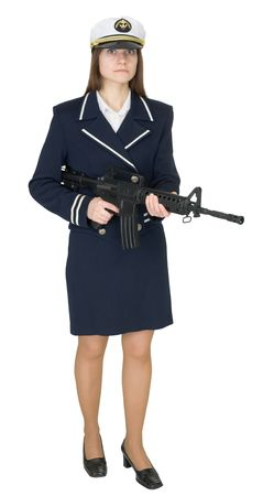 seaman: The girl in a uniform of the seaman with a rifle in hands isolated on white background Stock Photo