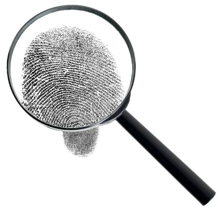 criminality: The big magnifier and fingerprint isolated on a white background