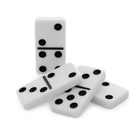 Pile from bones of a dominoes with black points on white backgrounds photo