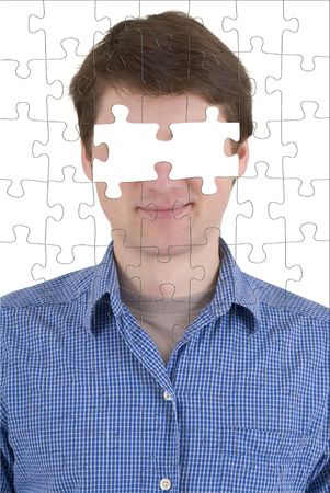 absence: Portrait of the unknown person with effect of a puzzle and absence of eyes