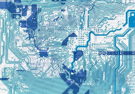 Close-up blue abstract circuit board background in hi-tech style photo