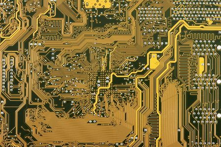 Golden industrial circuit board electronic background photo