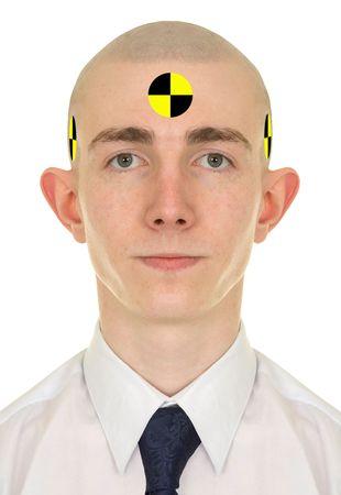 Portrait of the young man - crash dummy photo