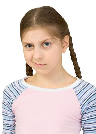skeptic: Skeptical teenager girl on the white background Stock Photo