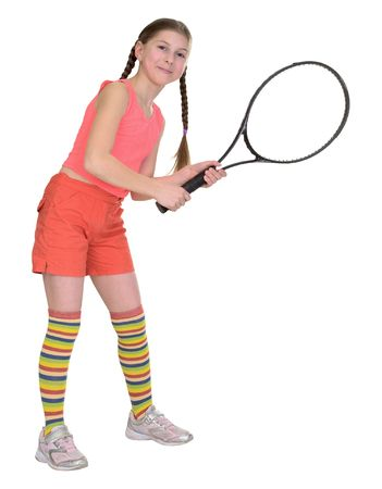 blinders: The little girl with a tennis racket it is isolated on a white background