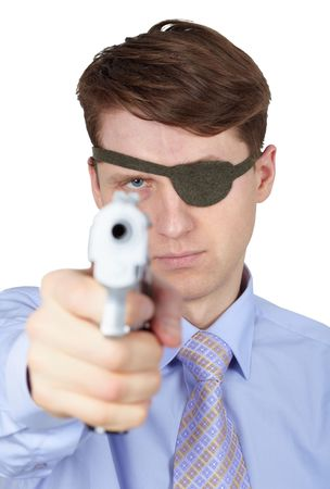 Portrait of a young guy with eye-patch shooting a pistol on white Stock Photo - 6313248