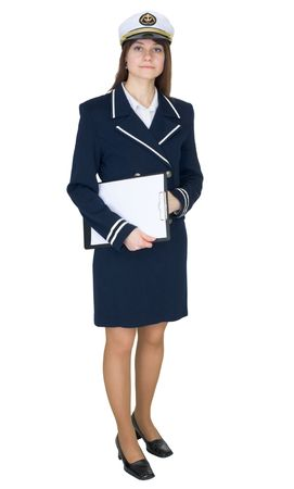 Serious woman in uniform sea captain with a tablet, isolated on a white background photo