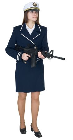 sentry: Beautiful woman in uniform sea captain with a rifle, isolated on a white background