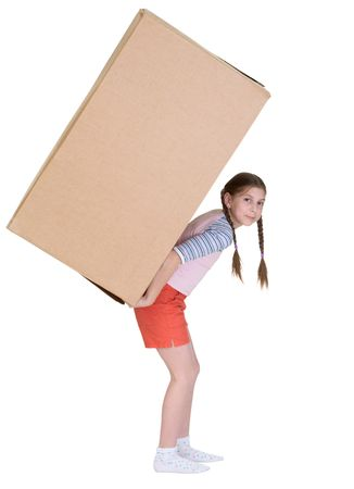 The little girl has a large cardboard box photo