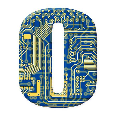One digit from the electronic technology circuit board alphabet on a white background - 0 Stock Photo - 6353881