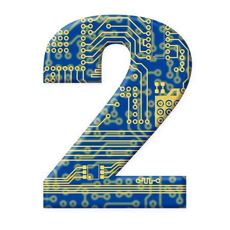 One digit from the electronic technology circuit board alphabet on a white background - 2 photo