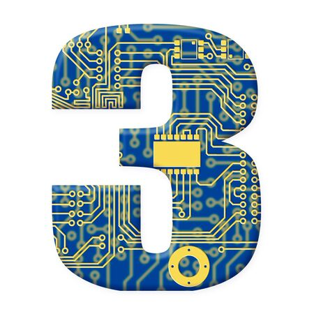 electromechanical: One digit from the electronic technology circuit board alphabet on a white background - 3