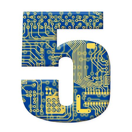electromechanical: One digit from the electronic technology circuit board alphabet on a white background - 5