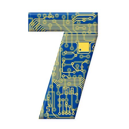 electromechanical: One digit from the electronic technology circuit board alphabet on a white background - 7