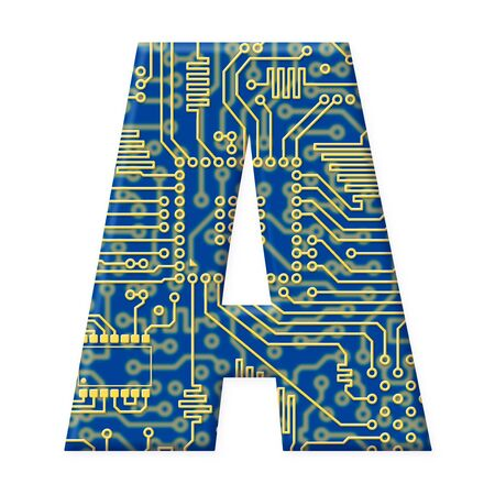 electromechanical: One letter from the electronic technology circuit board alphabet on a white background - A