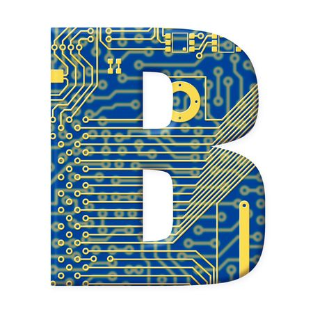 electromechanical: One letter from the electronic technology circuit board alphabet on a white background - B Stock Photo