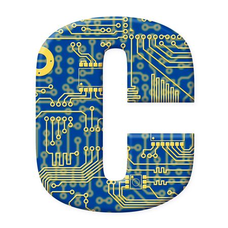 electromechanical: One letter from the electronic technology circuit board alphabet on a white background - C