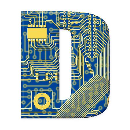 electromechanical: One letter from the electronic technology circuit board alphabet on a white background - D