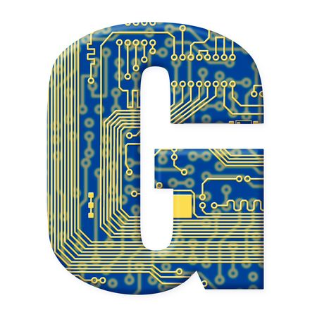 electromechanical: One letter from the electronic technology circuit board alphabet on a white background - G