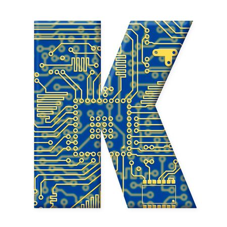 electromechanical: One letter from the electronic technology circuit board alphabet on a white background - K