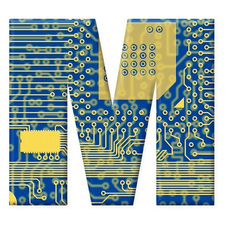 electromechanical: One letter from the electronic technology circuit board alphabet on a white background - M