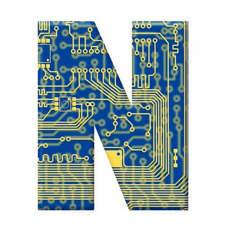 electromechanical: One letter from the electronic technology circuit board alphabet on a white background - N
