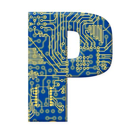 One letter from the electronic technology circuit board alphabet on a white background - P Stock Photo - 6353941