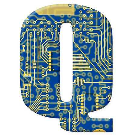 One letter from the electronic technology circuit board alphabet on a white background - Q photo