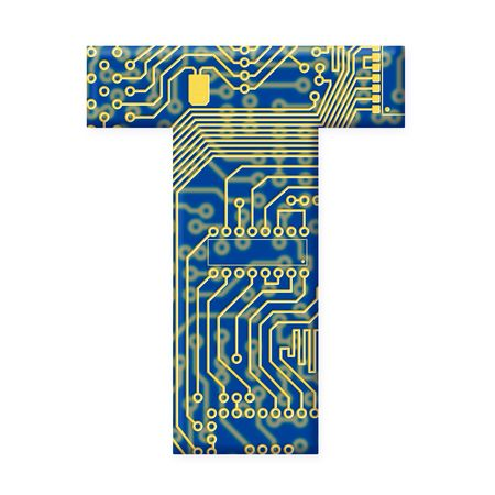 electromechanical: One letter from the electronic technology circuit board alphabet on a white background - T