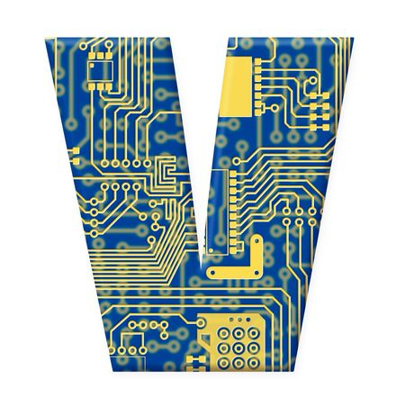 One letter from the electronic technology circuit board alphabet on a white background - V Stock Photo - 6353880
