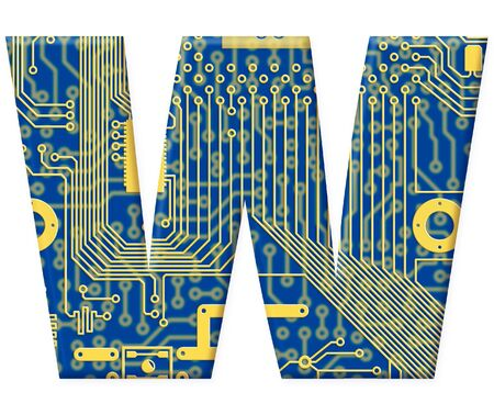 One letter from the electronic technology circuit board alphabet on a white background - W Stock Photo - 6353932