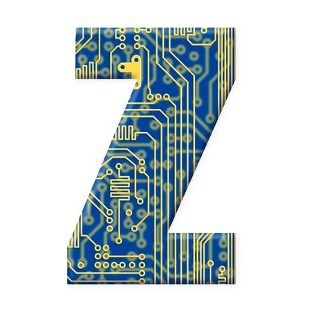 electromechanical: One letter from the electronic technology circuit board alphabet on a white background - Z