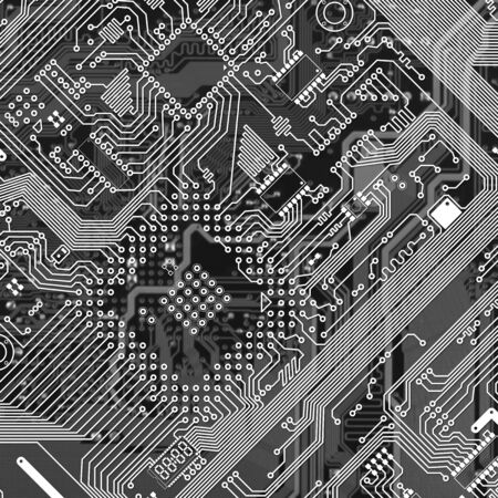 Printed monochrome industrial circuit board graphical texture photo