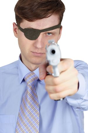 One-eyed robber threatens us with a pistol, isolated on a white background Stock Photo - 6354120