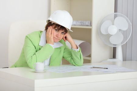 deplorable: The thoughtful woman - a builder in a helmet