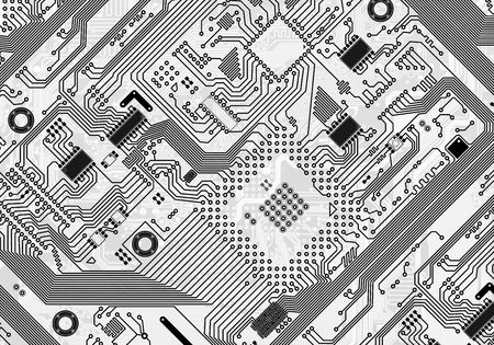 mainboard: Printed monochrome industrial circuit board graphical background