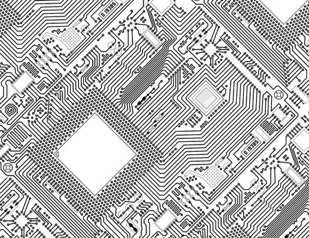 schematic: Printed monochrome industrial circuit board graphical background