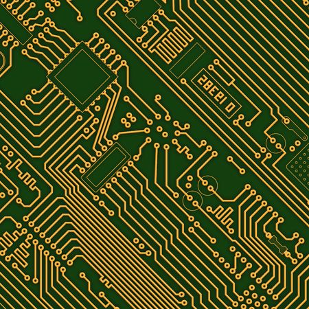 Industrial electronic high-tech golden - green background photo