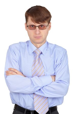 skeptic: Skeptical young man, isolated on a white background Stock Photo
